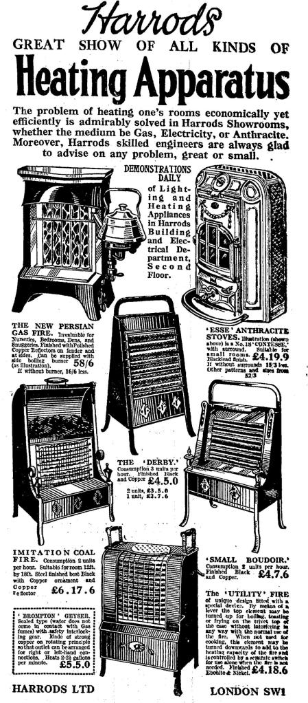 Advertisement including 'The New Persian Gas Fire' from The Times, Wednesday, 31st October, 1923
